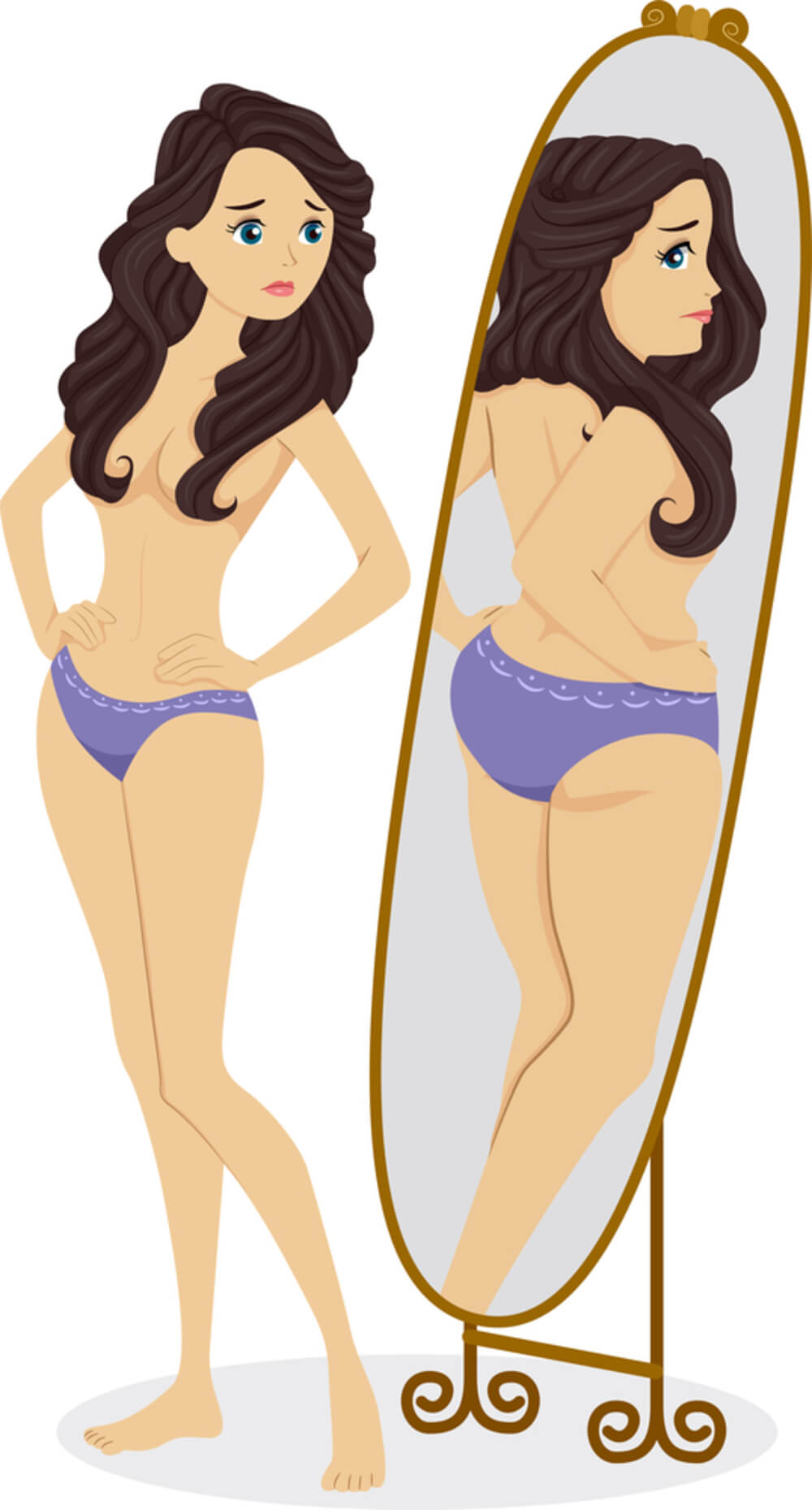 Illustration of a Thin Female Standing in Front of a Mirror and Seeing a Plump Girl in the Reflection