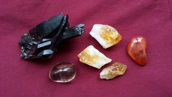 Left to right: Smokey quartz, Citrine, Carnelian